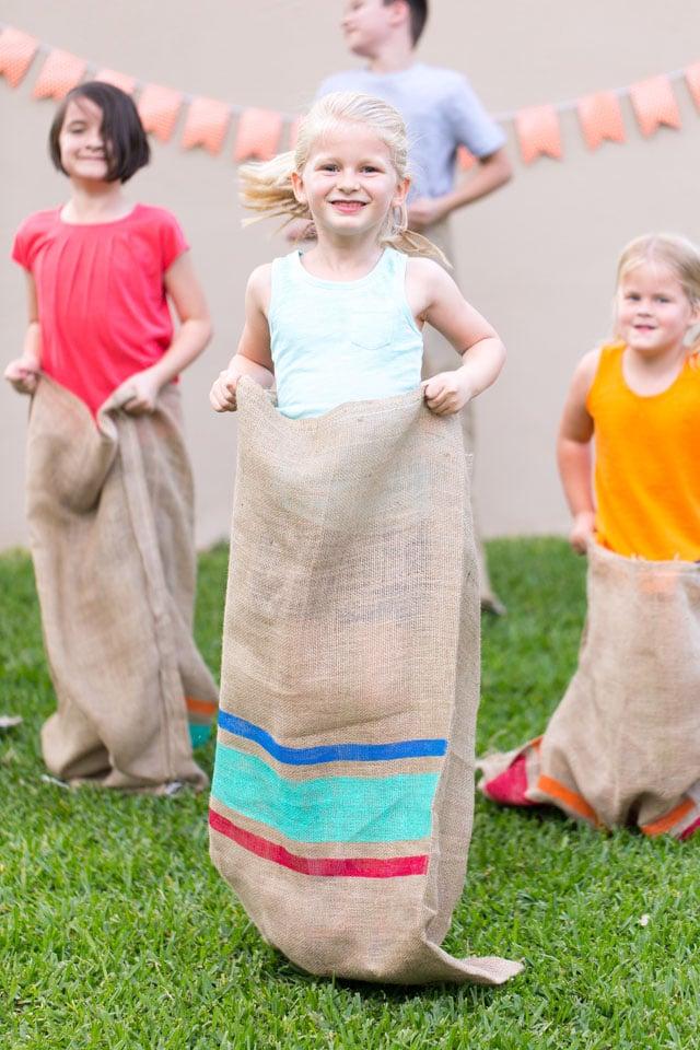 kids in potato sack races