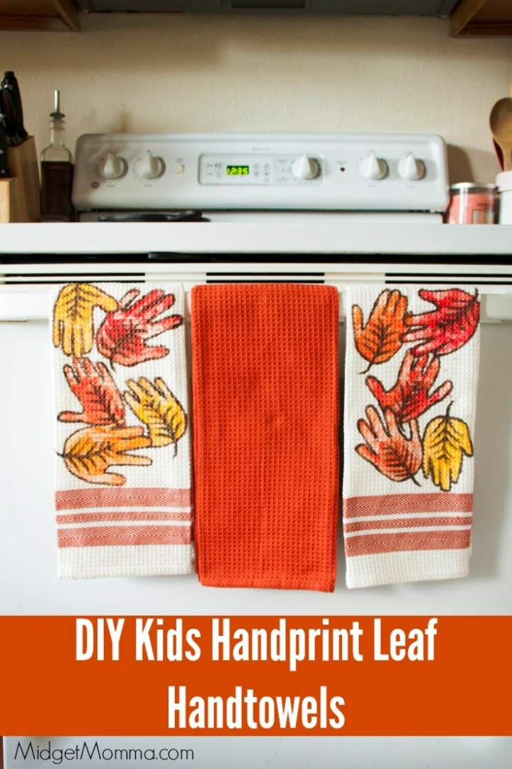 Fall handprint leaves kitchen towel craft
