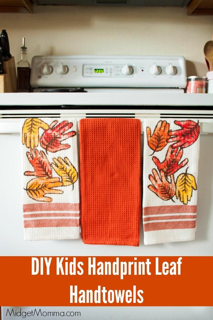 Fall handprint leaves kitchen towel craft