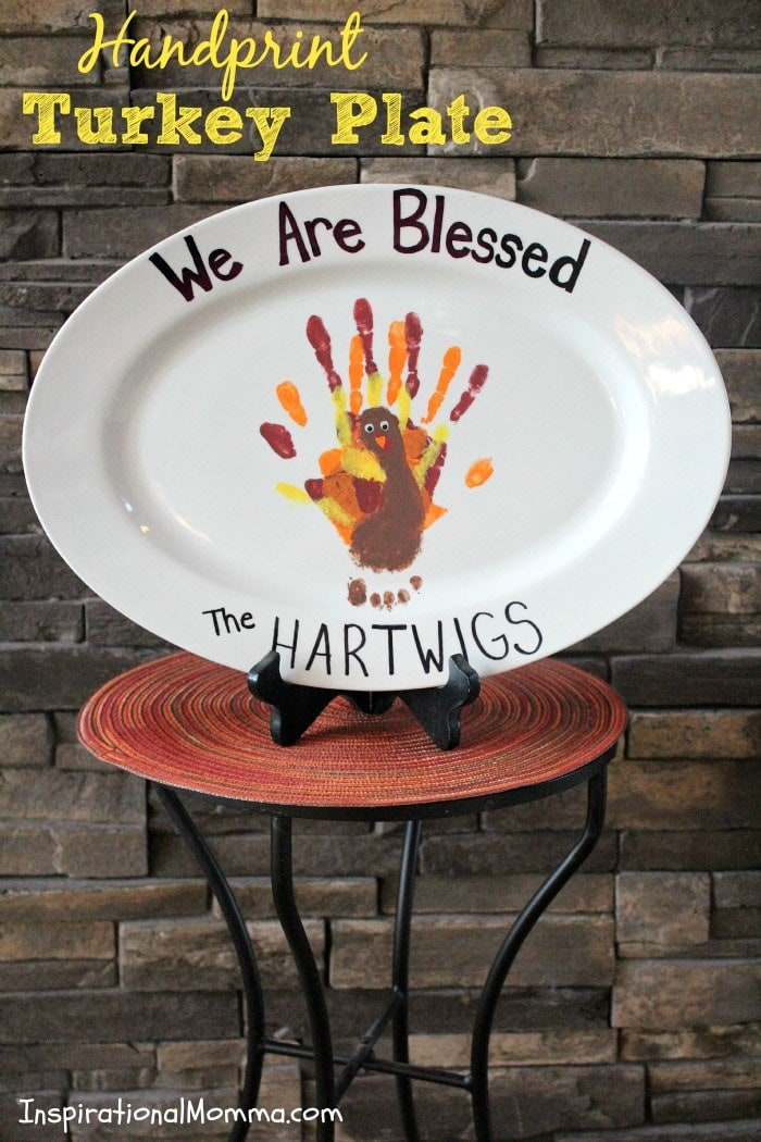 Make a special Handprint Turkey Plate keepsake this Fall. Lots of great Fall handprint crafts here.