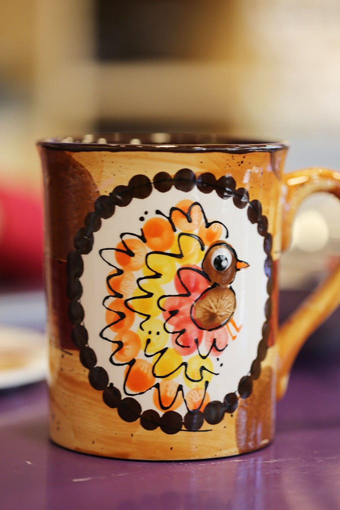 This fingerprint turkey mug came out so well. There are a ton of great fall keepsake crafts here.