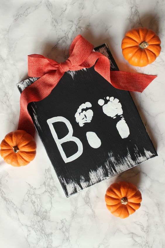 BOO footprint craft with baby feet