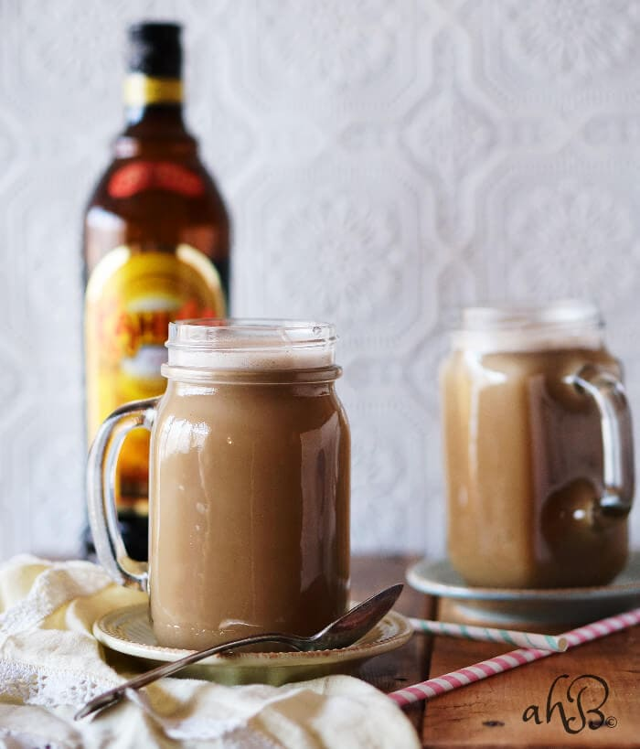 This hot buttered kahlua recipe is perfect to share with friends around a cozy fire this Fall.