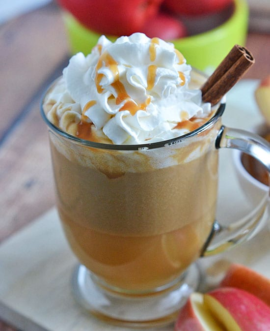 Try this delicious salted caramel apple cider recipe. So many good hot drink recipes here.