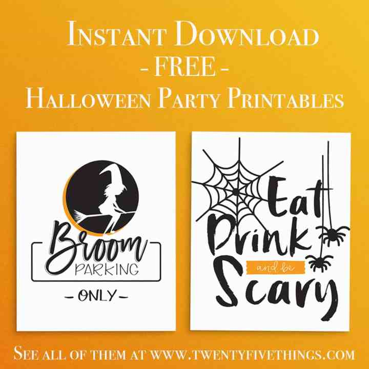Download and print these Free Halloween Party Printables for your Halloween party. Includes Broom Parking print and Eat Drink and be Scary print.