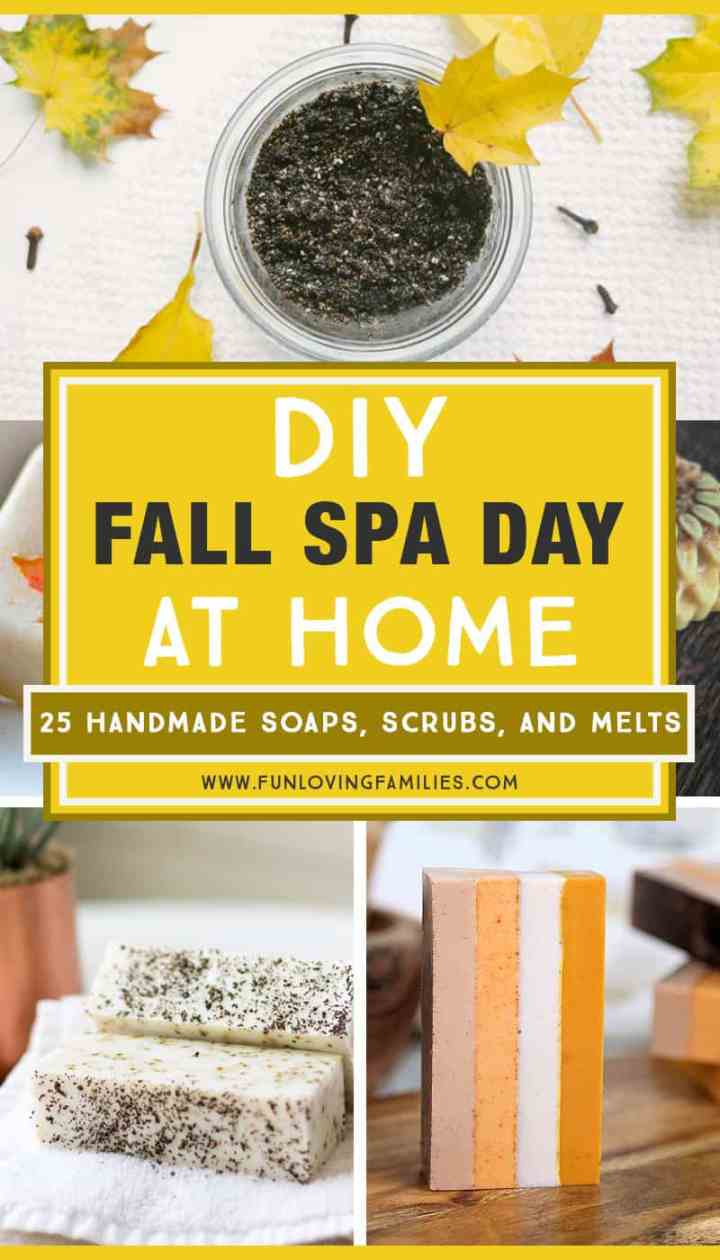 Have a Fall spa day at home, and relax in the wonderful scents and spices that the season brings. Making your own homemade spa treatments is fun, and everyone needs some time for self care. #spaday #diy #bathandbody #homemade #scincare #selfcare #wellness #selfcareformoms