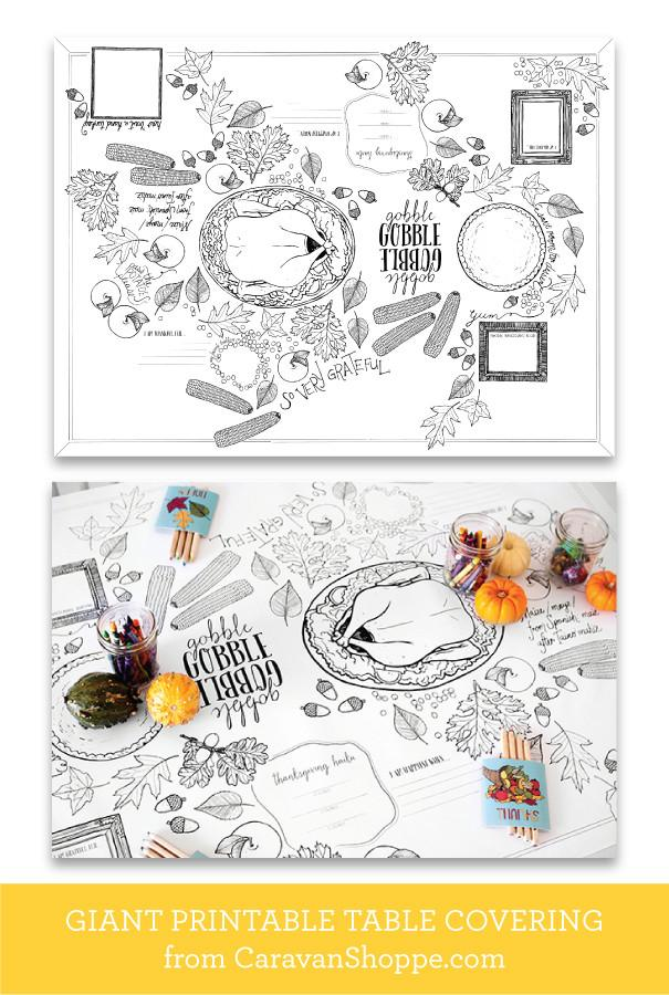 This table-sized sheet doubles as a table covering and Thanksgiving kids table activity sheet. See the blog for more kids table decor and ideas.