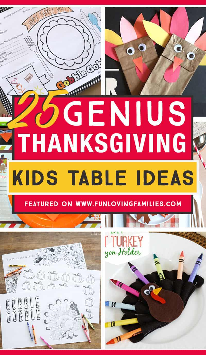 These are the best Thanksgiving kids table ideas. I love the table settings and simple kids activities to keep the kids from getting bored. #thanksgiving #freeprintables #kidscrafts #thanksgivingdinner
