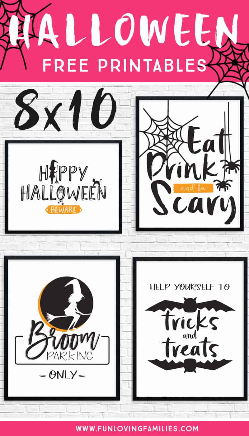 Free printable Halloween party prints for easy decorating. Set of 4 8X10 prints, Happy Halloween printable sign, Eat Drink and be Scary, and more! #halloween #halloweenprintables #freeprintables #halloweendecor #funlovingfamilies