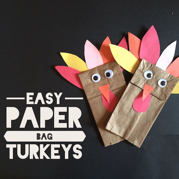 Easy Thanksgiving kids craft. Put the supplies for these turkey handpuppets on the Thanksgiving kids table to keep little hands busy.