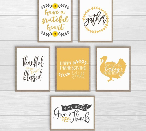 6 Thanksgiving prints. Click over to download and print at home and to check out the other colors. #ThanksgivingDecor #FreePrintables
