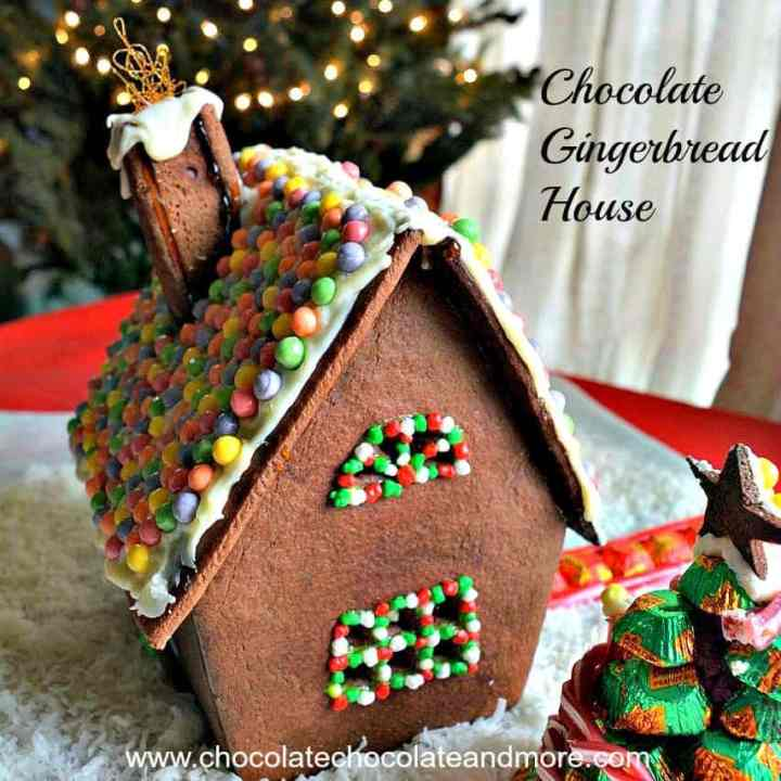 Use this recipe for chocolate rolled sugar cookies to make a chocolate gingerbread house. This is such a great idea for people who don't like or can't tolerate ginger. #GingerbreadHouse #Chocolate #Recipe