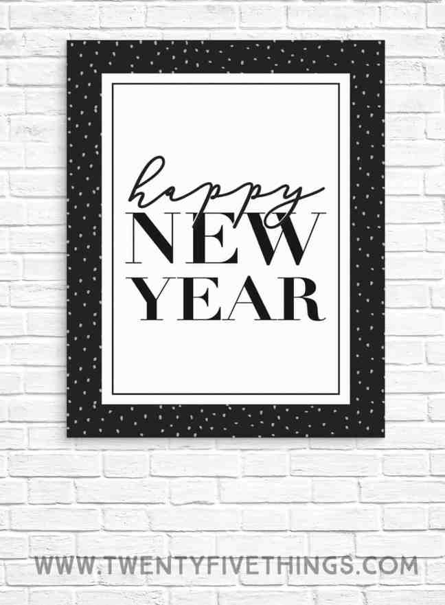 Here's a free Happy New Year print for your New Year's eve party decorations.