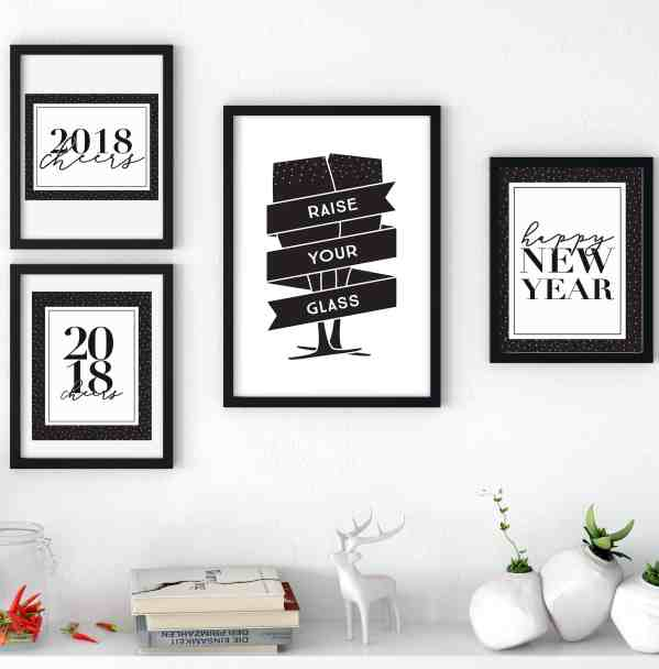 Grab these free New Year's prints for your decor or New Year celebration! These are all 8x10 prints and are free downloads for easy decorating. #FreePrintables #NewYear2018