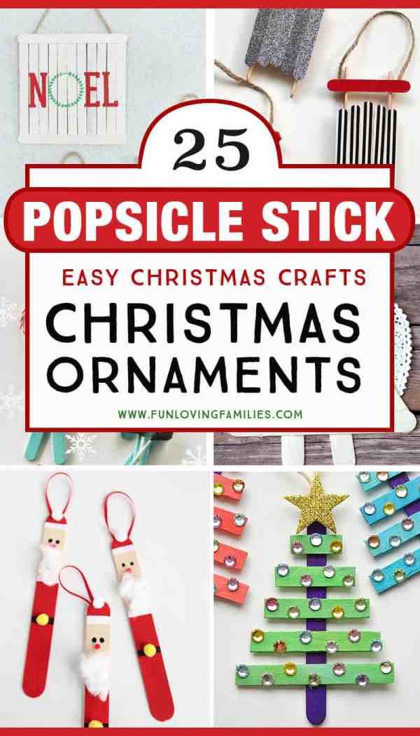 Make these popsicle stick Christmas crafts with the kids. They make great homemade Christmas ornaments! #christmascrafts #diychristmas #homemadeornaments #kidscraft
