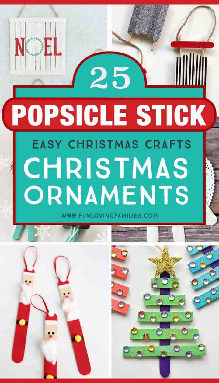 These DIY popsicle stick ornaments look like so much fun to make with the kids this year. This is also a great list of easy handmade ornaments to check out if you're hosting an ornament making party. #DIYOrnaments #HandmadeChristmas #OrnamentParty #ChristmasKidsCrafts