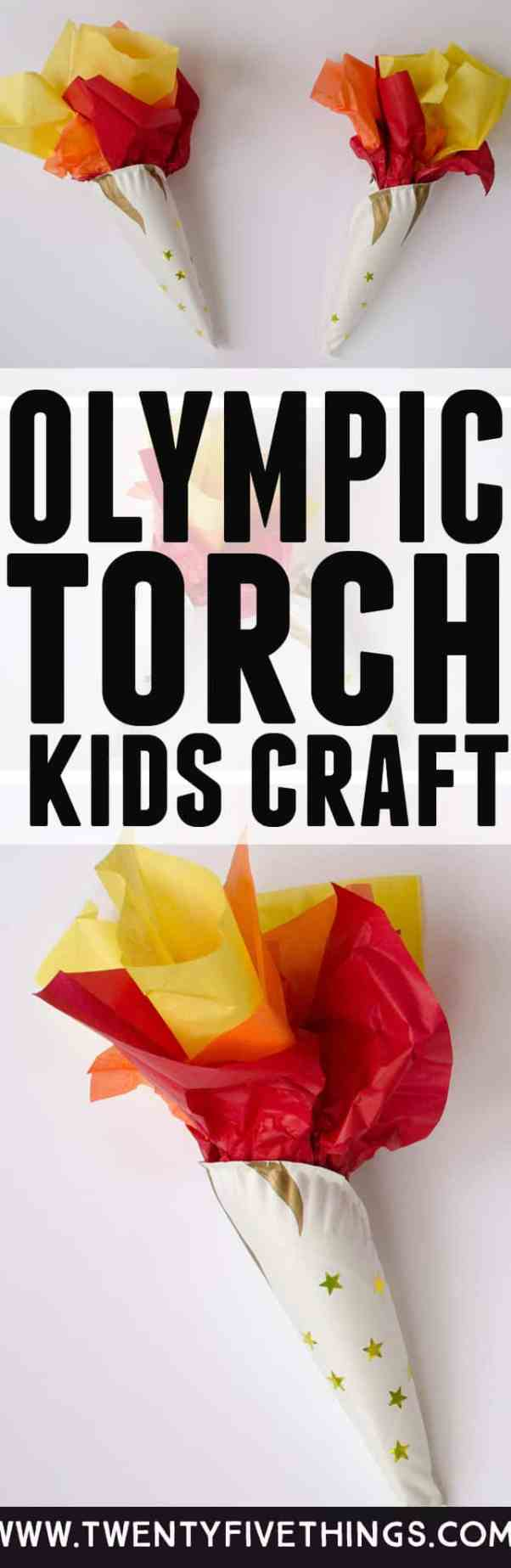 This Olympic torch craft is a fun way to celebrate the Olympics with kids. Slide a battery-powered tea light inside to make the torch glow. #WinterOlympics #OlympicGames #KidsCrafts
