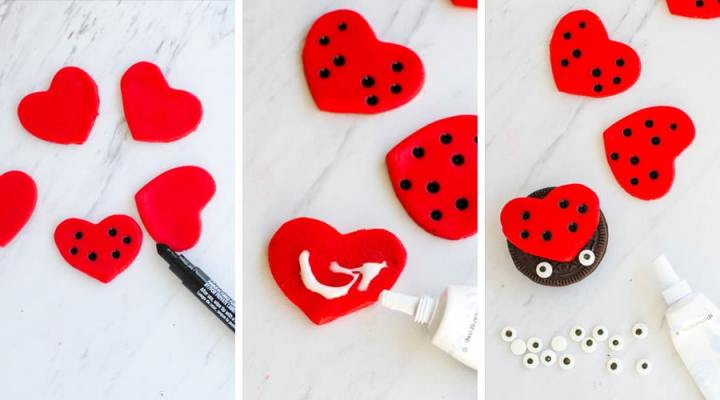 steps to making the valentines day cookies