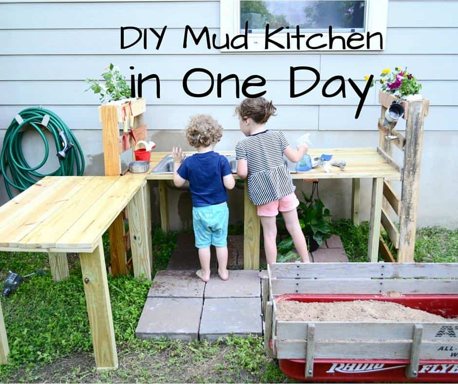 Follow this tutorial for making your own outdoor mud kitchen for kids (via Hands on as We Grow).