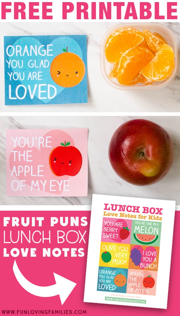Download these adorable fruit pun lunch box notes for Valentine's day or anytime. Click through for the free printable PDF download. #lunchboxnotes #freeprintables