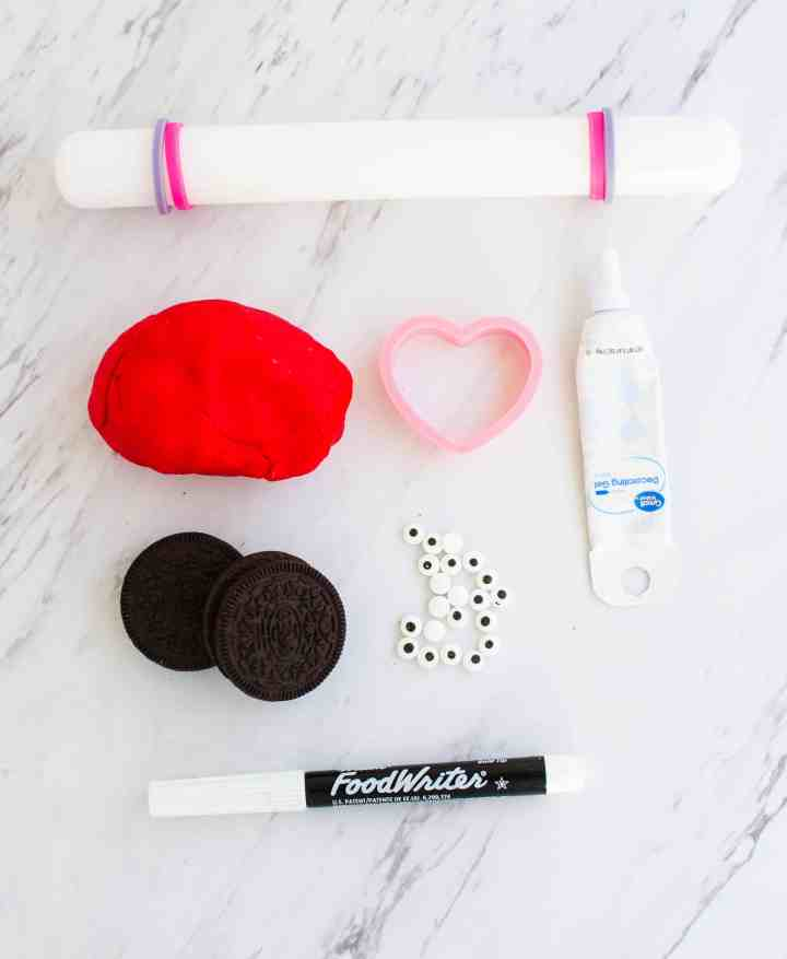 supplies for oreo valentines day love bug cookies