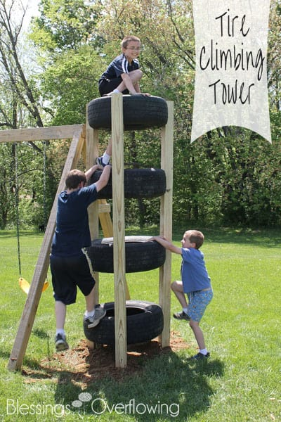 Great list of DIY outdoor play areas including this DIY Kids outdoor climbing tower from old tires via Blessings Overflow.