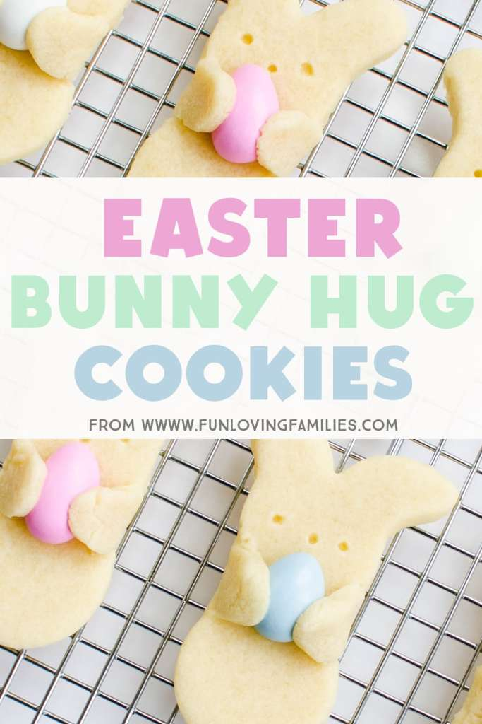 easter cookies bunny shape hugging candy eggs
