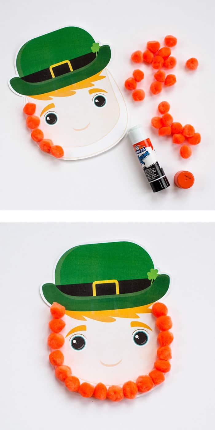 how to make the leprechaun craft using pom poms