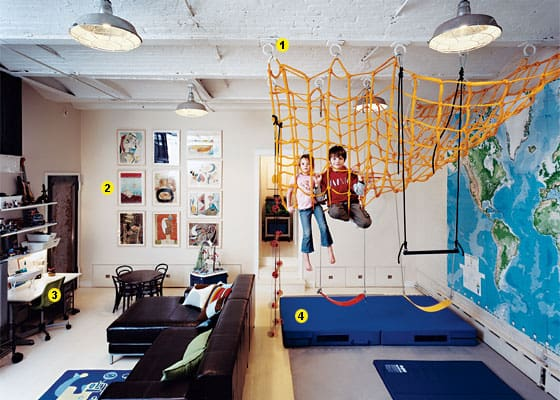 DIY indoor play area with climbing net for kids. Lots of great ideas for kids indoor climbing spaces.