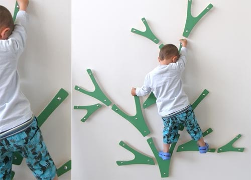 This is the Buskas indoor climbing tree. Check out all of the amazing ways to add a kids climbing space to your home.
