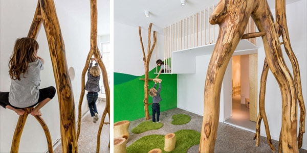 make a natural indoor climbing structure for indoor play, via Trend Hunter