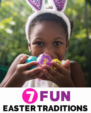Child collecting Easter eggs for Fun Easter tradition