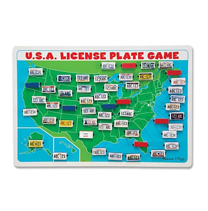 This is the best list of amazing road trip games and ideas for kids. We love this USA license plate game for long trips.