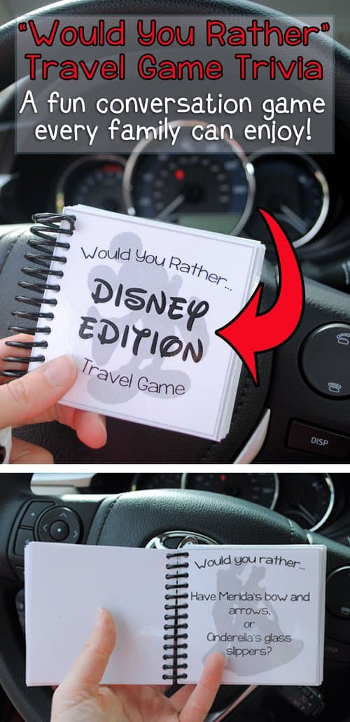 Disney road trip idea: Free printable Would You Rather Travel Game from One She Two She