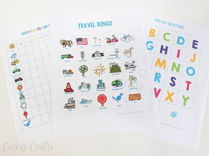 Free printable travel game set from Cutesy Crafts. Click through for more fun road trip ideas for kids.
