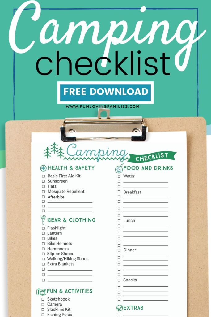 camping checklist printable on clipboard