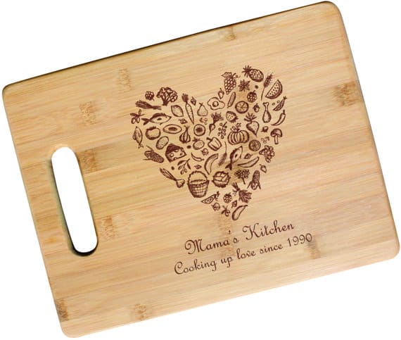 Mama's Kitchen Cooking Up Love personalized bamboo cutting board, gift idea for mom.