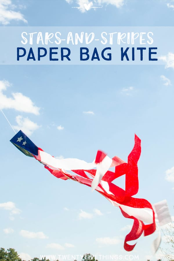 Easy Flag craft for Kids: Have fun with the kids making this red, white, and blue paper bag kite. This is really fun for the kids to make and play with when they're done.