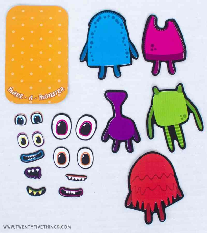 Make a monster travel tin activity pieces. Free download to make your own magnetic travel game for kids.