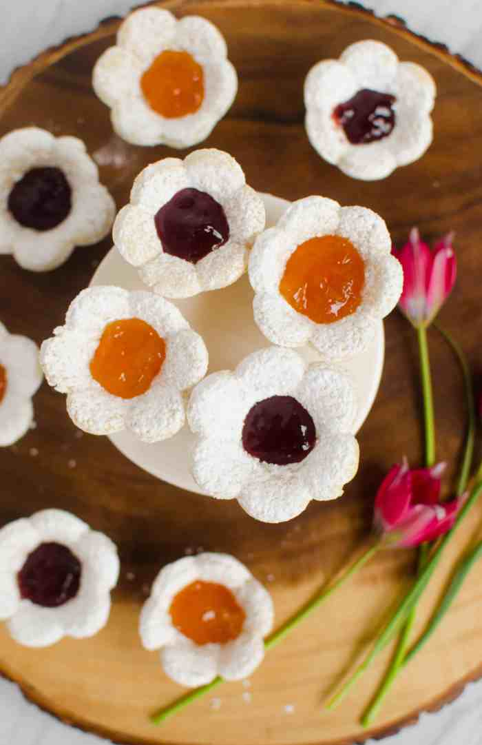 Flower shaped cookies for Mother's Day. Make a pretty treat to add to your Mother's day brunch.