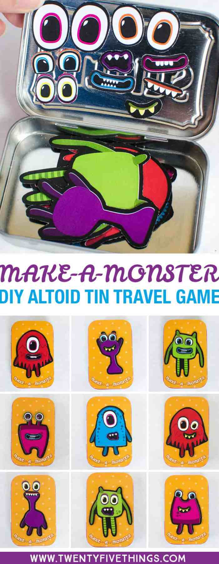 My kids will love playing with this DIY travel tin game on our next road trip. Use the free printable and an Altoid tin to make your own.