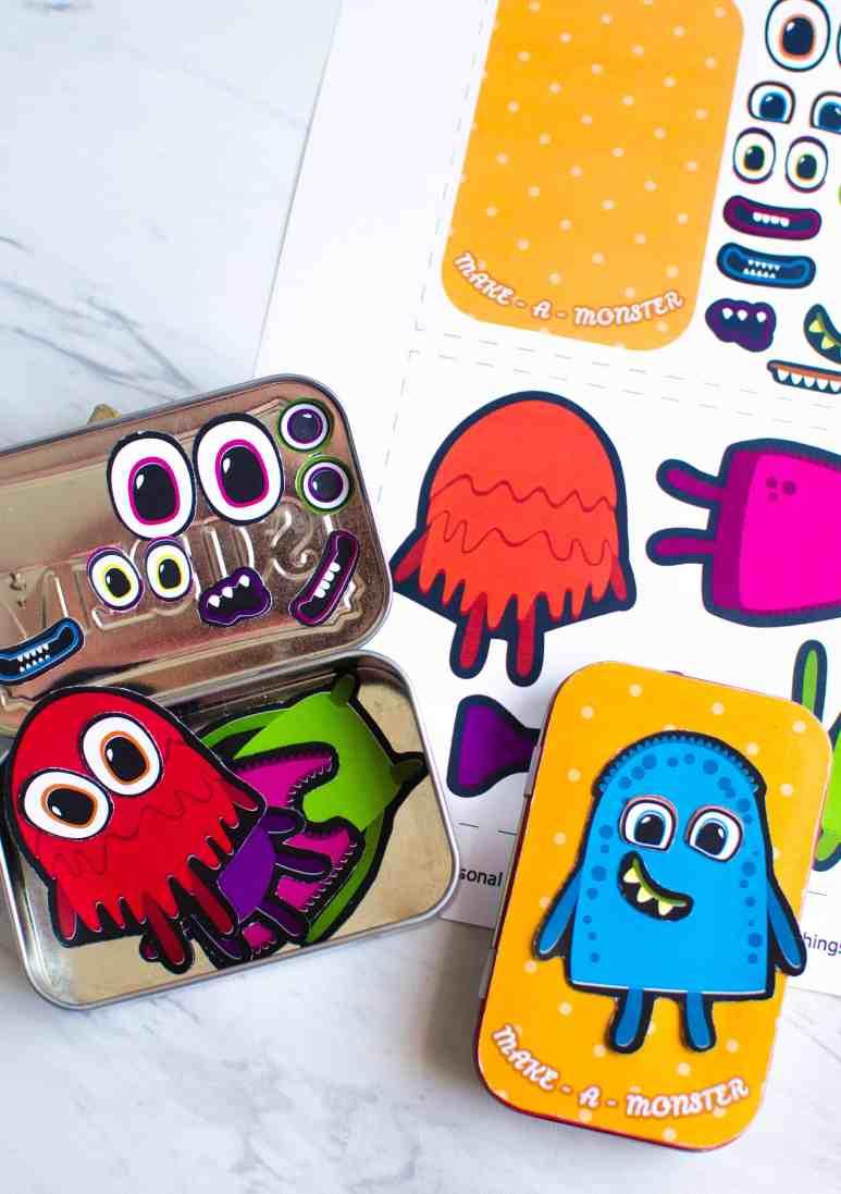 Free printable for DIY Altoid Tin Play Set for kids. f