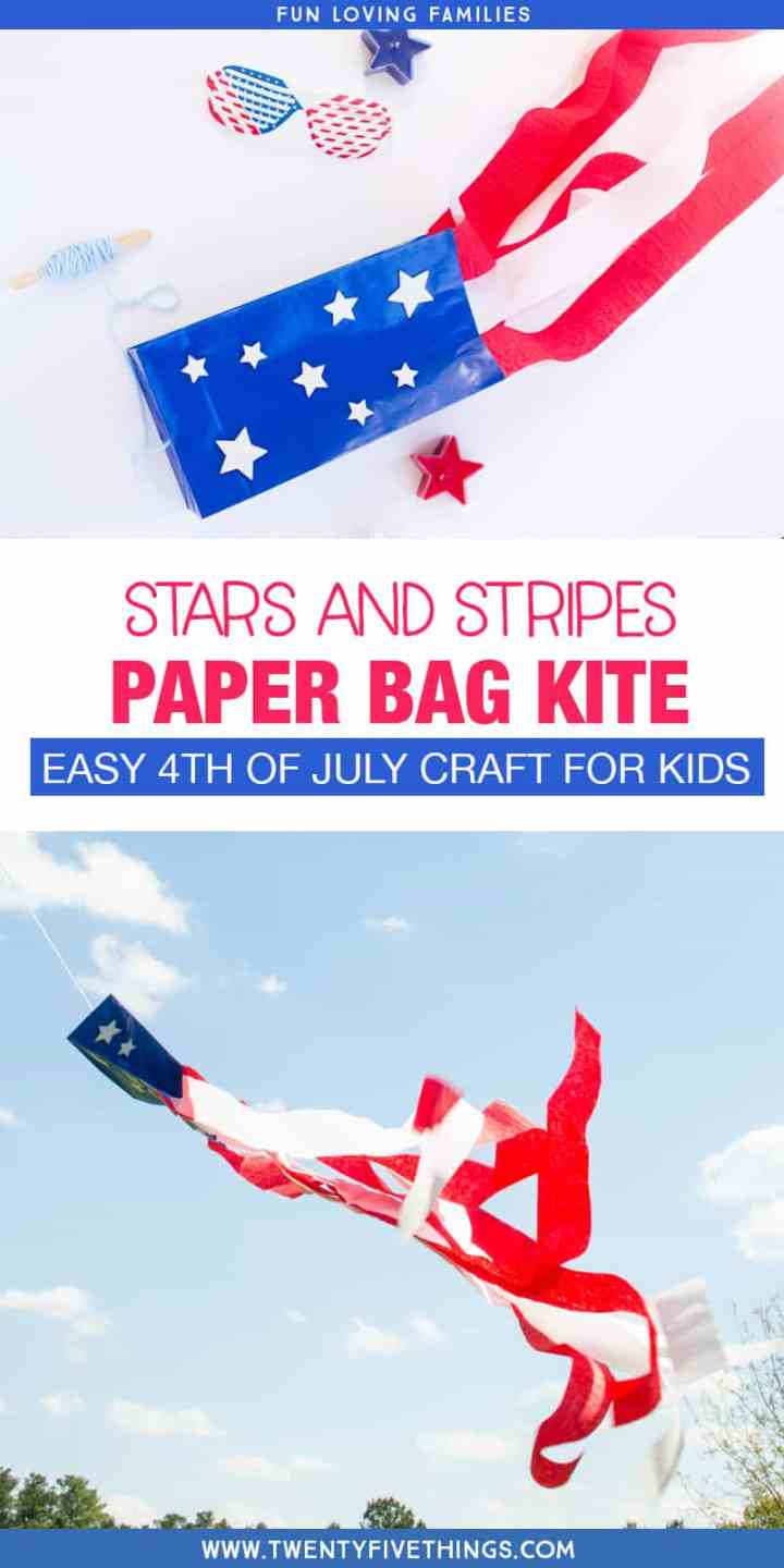 Easy 4th of July craft for kids. Make this simple DIY paper bag kite, decorated with the stars and stripes, for a fun patriotic craft that the kids will love.