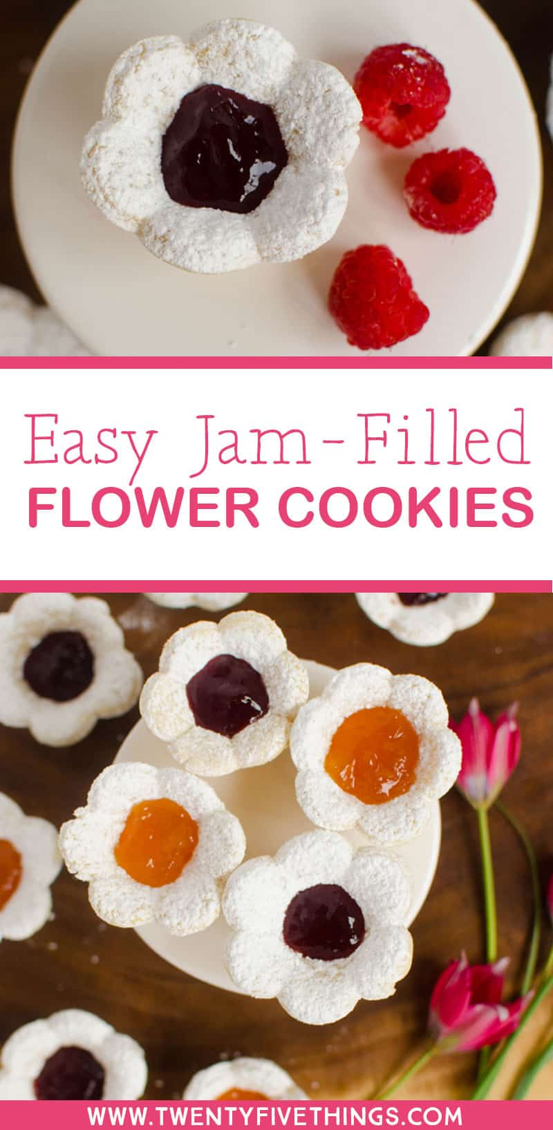 See how easy it is to make these jam-filled flower sugar cookies. These cookies are so cute for a tea party or brunch.