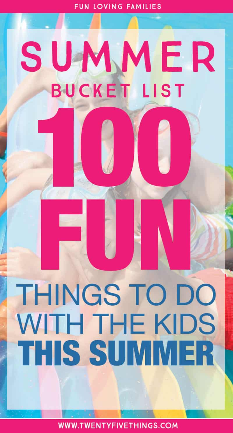 Need some ideas for fun activities to do with the kids this summer? Click through for 100 fun Summer Bucket List ideas for kids.