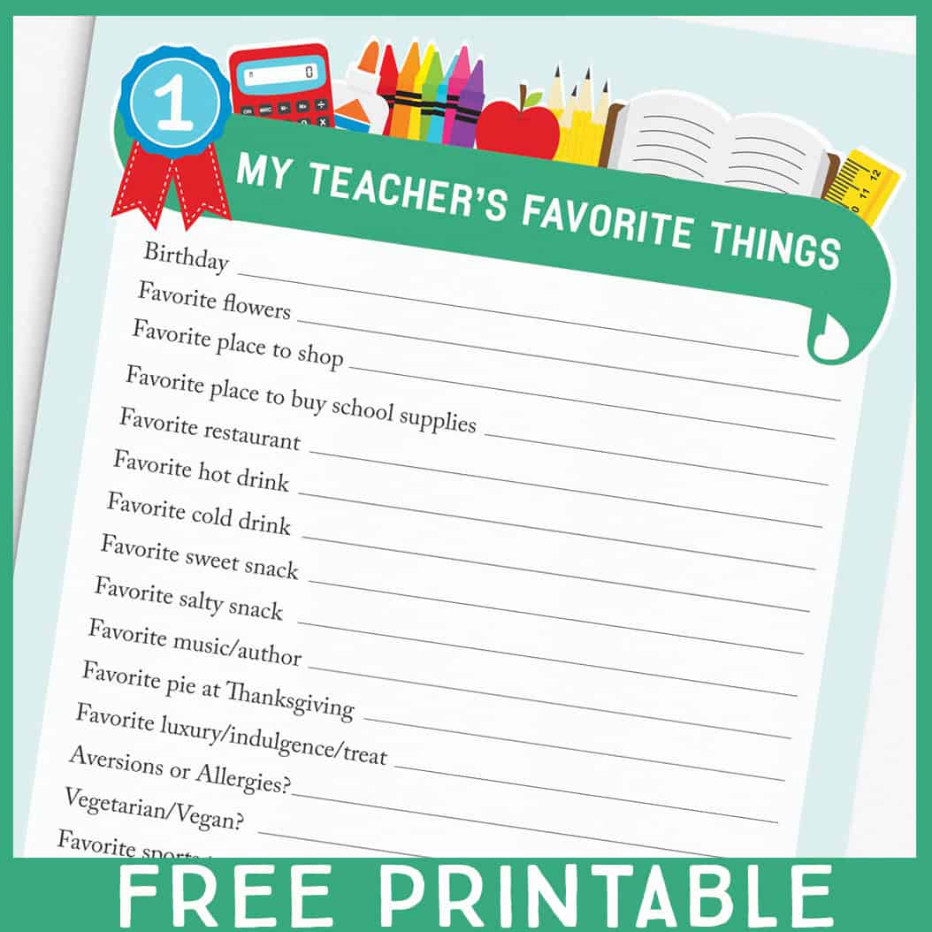 Teacher Favorite Things Printable Questionnaire For