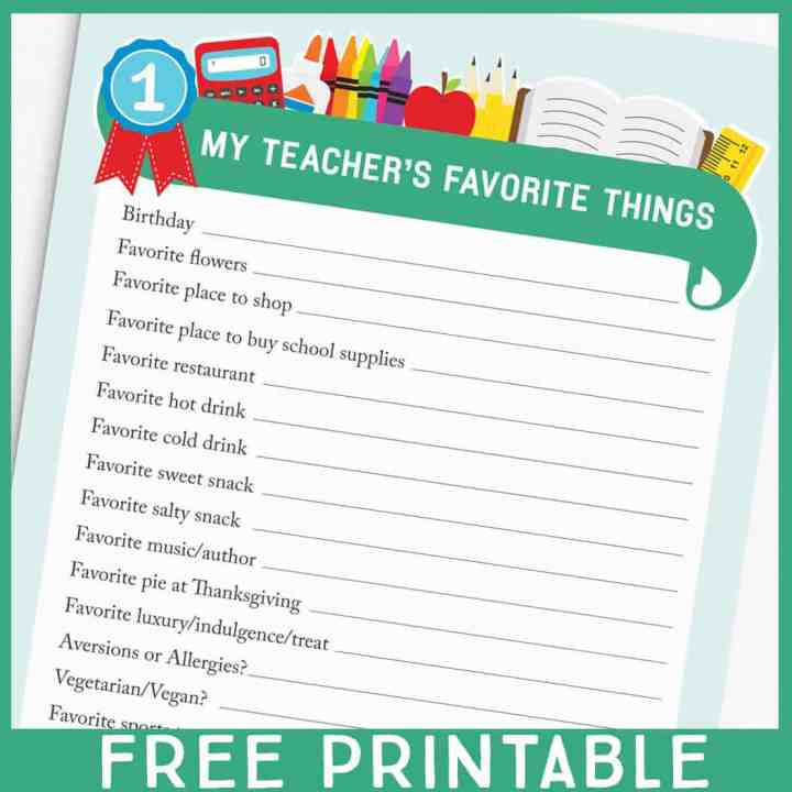 Teacher favorite things questionnaire for easy teacher gift ideas.