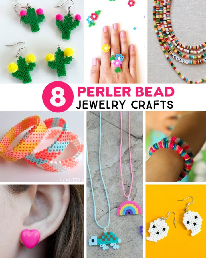 DIY perler bead jewelry crafts
