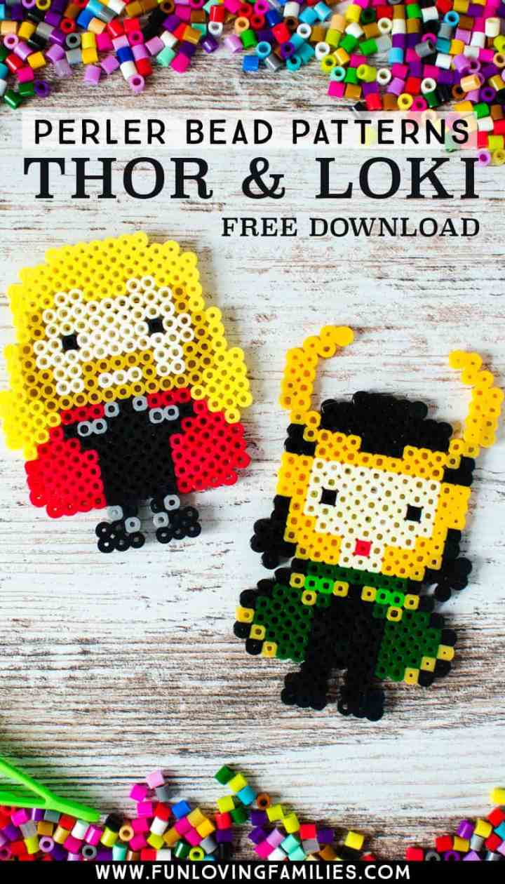 Thor and Loki Marvel craft made from Perler Beads