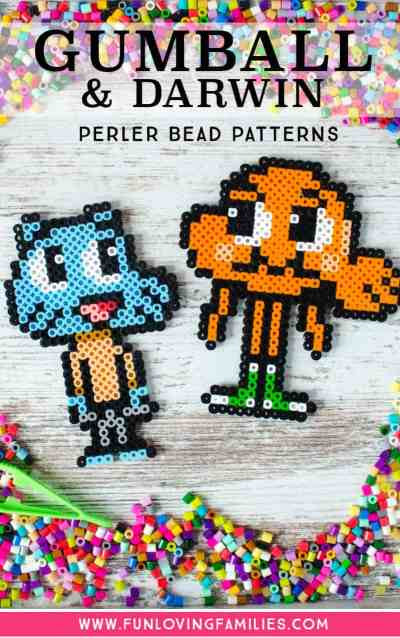 Gumball and Darwin figures made from Perler Beads